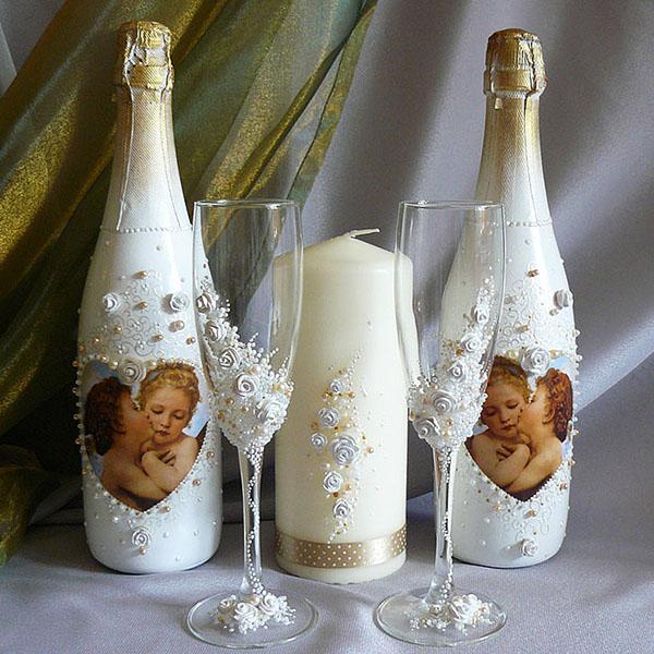 Свадебная бутылка с фото своими руками